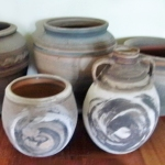 Elsa Ardern. Selection of pots made at Kalaru, NSW